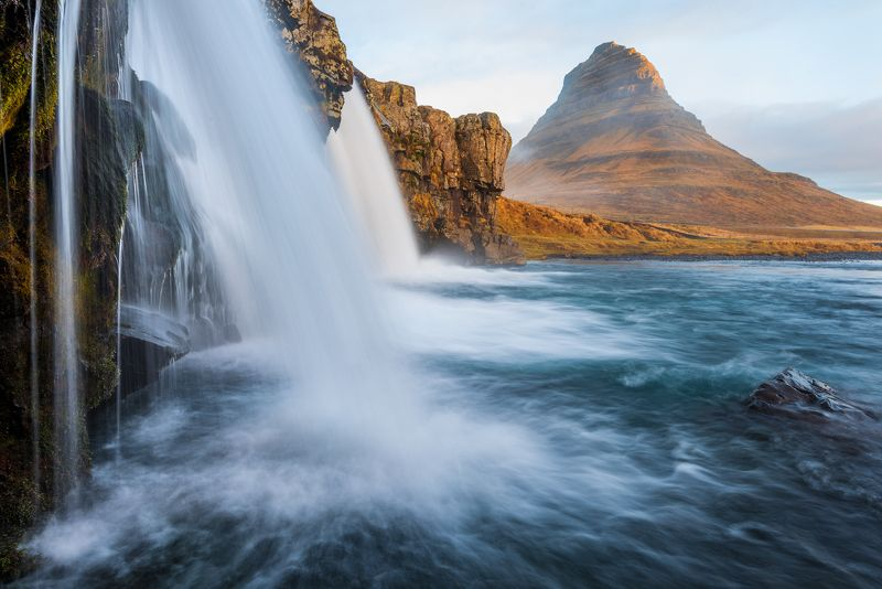 kirkjufellsfoss, исландия, водопад, рассвет, iceland Kirkjufellsfossphoto preview