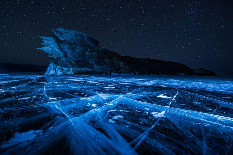 Огой, Байкал, пейзаж, ночь, звезды, лед, синий лед, россия, остров,  Спящий Огойphoto preview