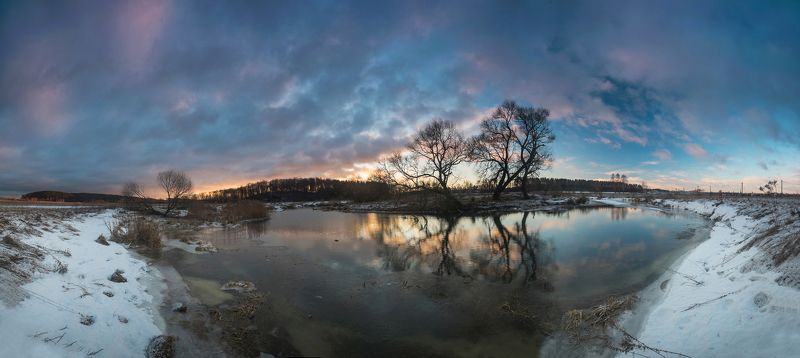 зима снег лес деревья беларусь небо февраль река рассвет контраст панорама ****photo preview