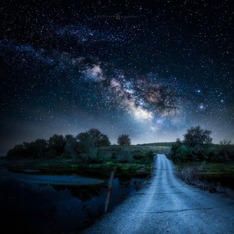 astrophotography, astroscape, astronomy, galaxy, milky way, nightscape, night, sky, stars, long exposure, nature, bulgaria, space, panorama, river, summer Lead the Wayphoto preview