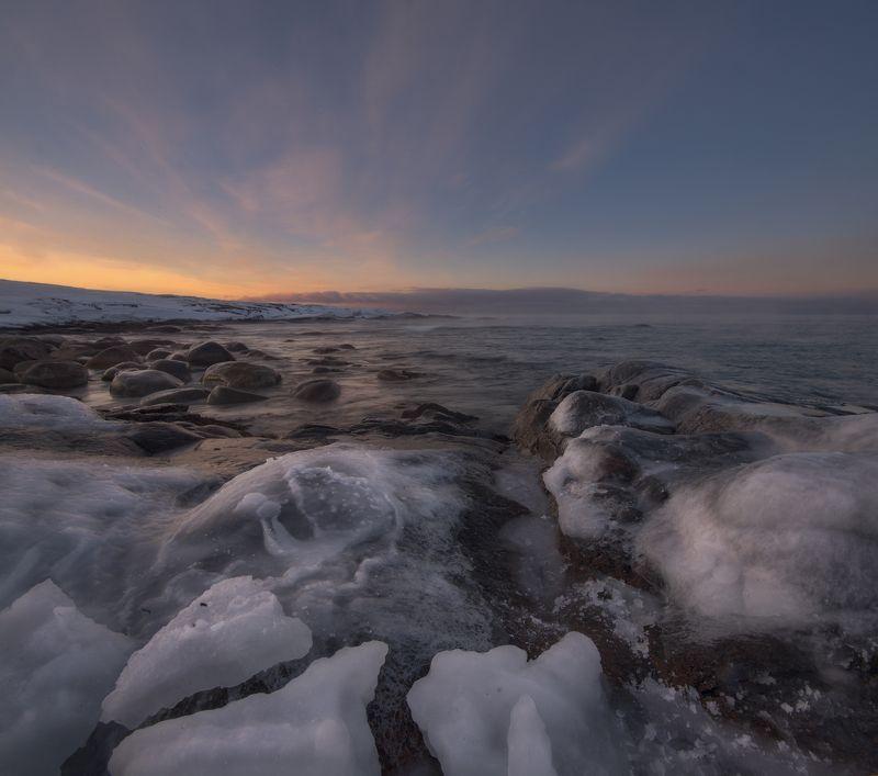 закат, Териберка, Кольский полуостров на закатеphoto preview
