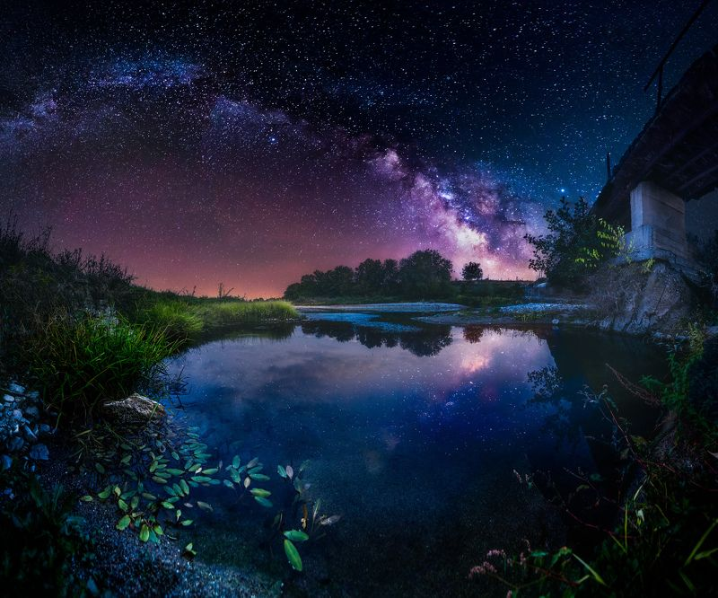 astrophotography, astroscape, astronomy, galaxy, milky way, nightscape, night, sky, stars, long exposure, nature, bulgaria, space, panorama, river, summer Kingdom of Frogsphoto preview