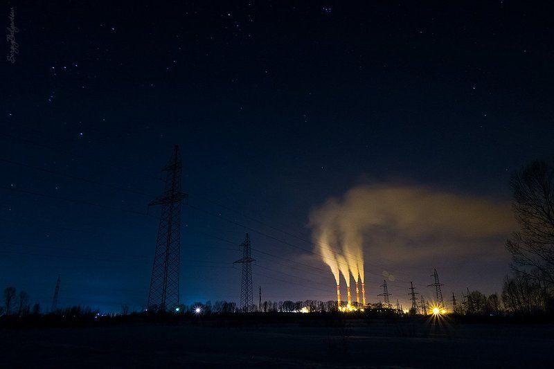 Томь-Усинская, ГРЭС, ночь, зима, звёзды, звёздное небо, созвездия, ЛЭП, электростанция Светphoto preview