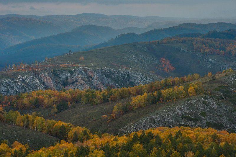 урал, горы, башкирия, осень, вечер, дождь, скалы photo preview