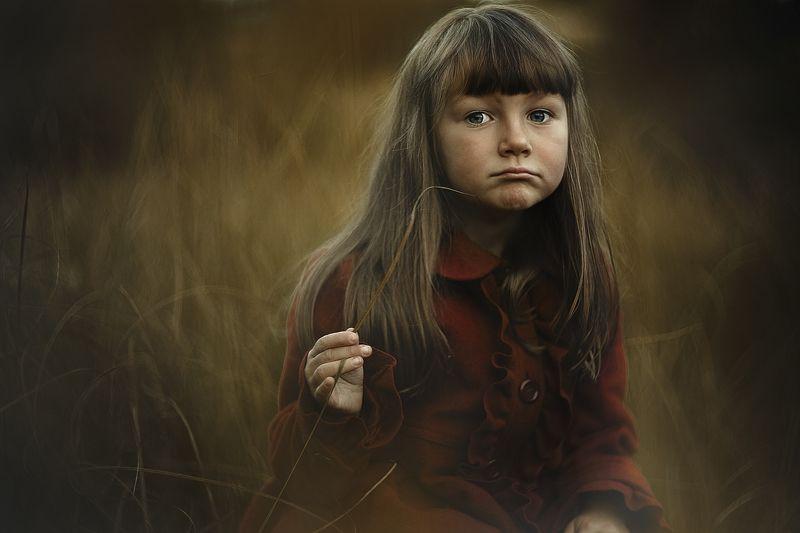 девочка, портрет, трава, осень, закат, красный, пальто Надеждаphoto preview