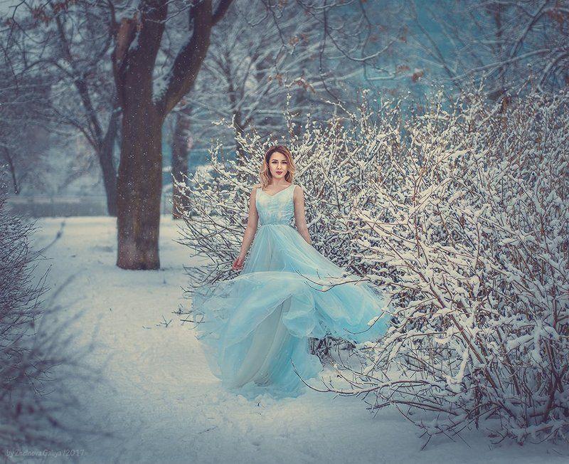 зима, снег, платье, портрет, девушка, сказка ...photo preview