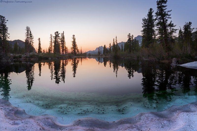 красноярский край, западные саяны, национальный парк  ергаки, озеро, закат, лазурное, покой, природа. \