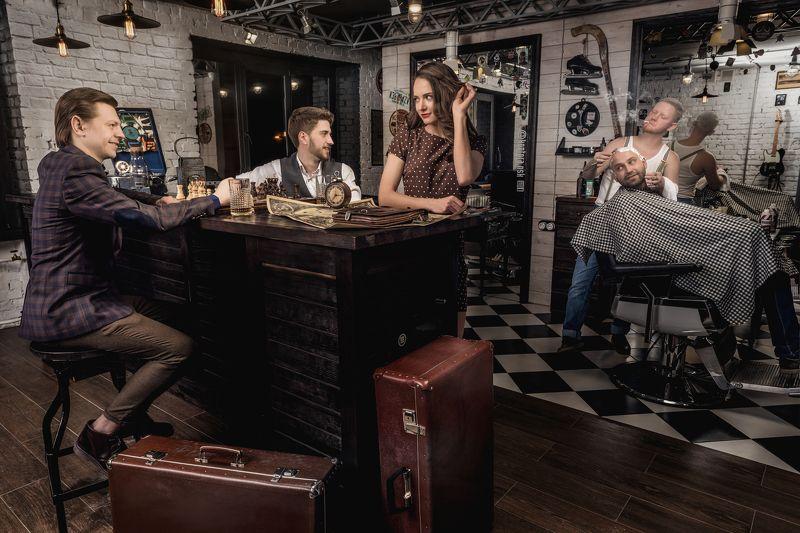 barbershop, hair, old, team, retro Barbershopphoto preview