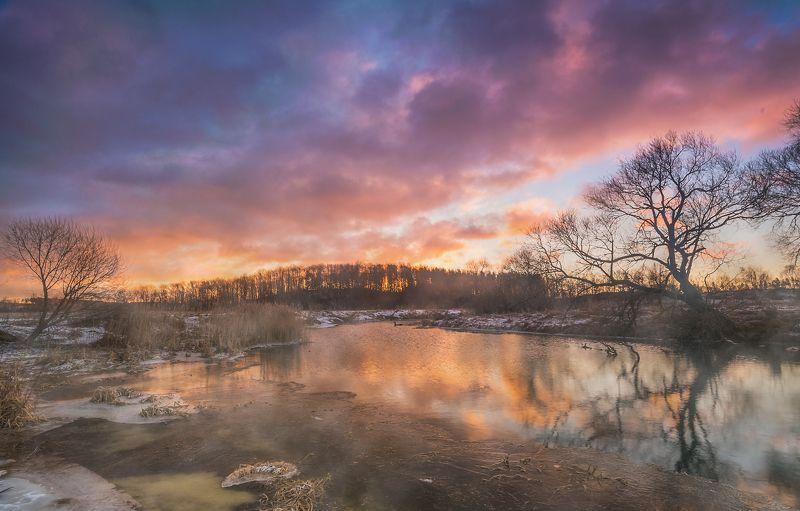 рассвет заря река небо беларусь пейзаж зима снег лес деревья февраль контраст панорама, В пламени рассветаphoto preview