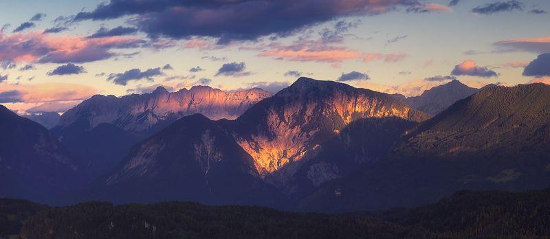 австрия, каринтия, панорама, горы, закат, лето, июль Последний светphoto preview