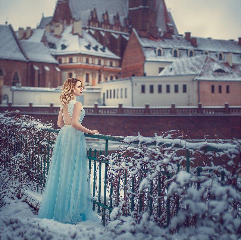 зима, снег, платье, портрет, девушка, сказка, замок ...photo preview