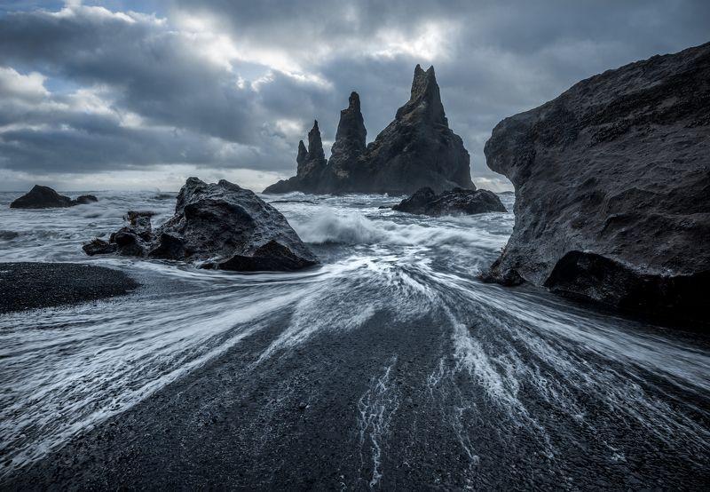 пейзаж, исландия, пляж, скалы Замки черного пляжаphoto preview