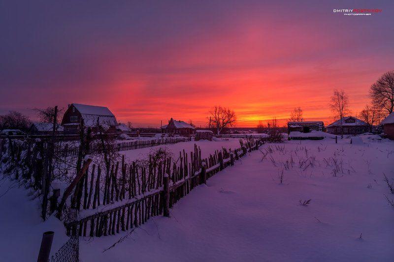 Деревня, Зима, Пейзаж, Рассвет, Россия, Утро Рассвет,похожий на закат.photo preview