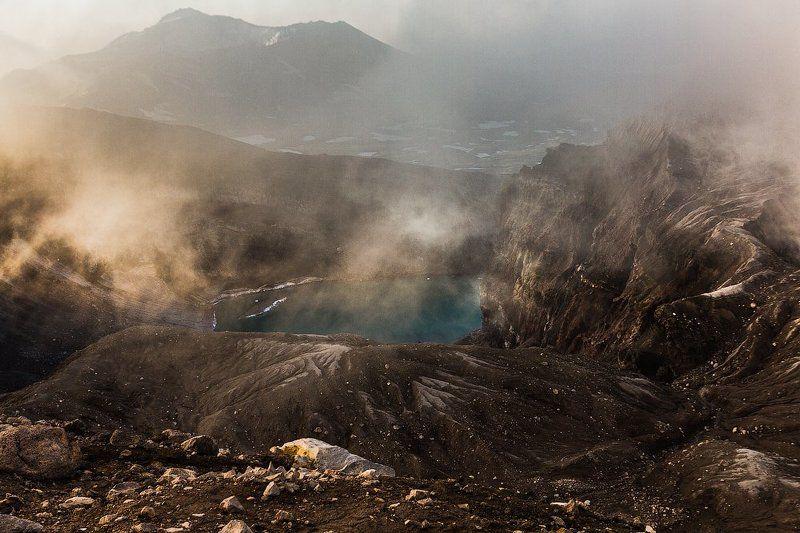 солнце, рассвет, вулкан, кратер, камчатка, горелый Луч солнца золотогоphoto preview