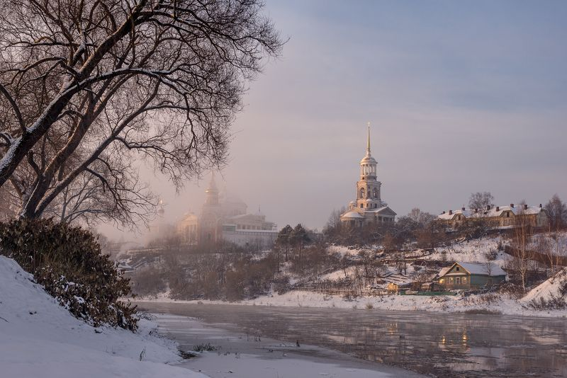 торжок, утро, туман, рассвет, снег, тверица, ***photo preview