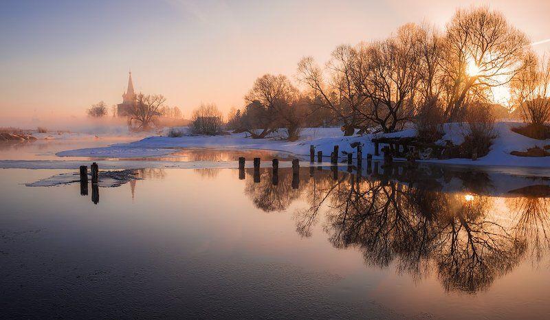 Март, 2017, утро, рассвет, сонце, церковь, река Мартовское солнцеphoto preview
