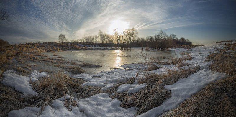весна,утро,снег,небо,разлив,природа. Мартовское утро.photo preview