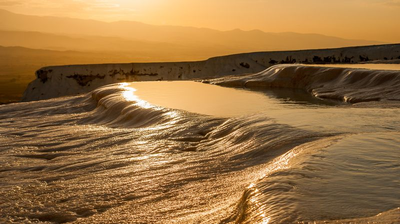 закат, памуккале, пейзаж, солнце, горы Закатное Памуккалеphoto preview