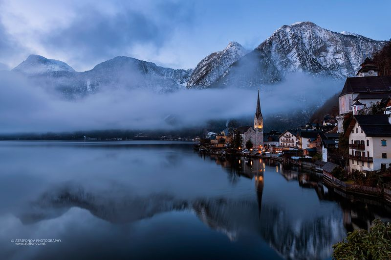 Hallstatt, Austria, village, fog, dreams, lake, alps, mountain, winter, church, lights, travel Деревня мечтыphoto preview