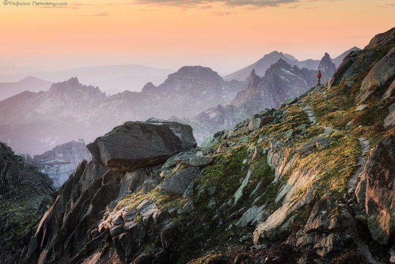 красноярский край, западные саяны, национальный парк  ергаки, горы, закат, лазурное, покой, природа. \