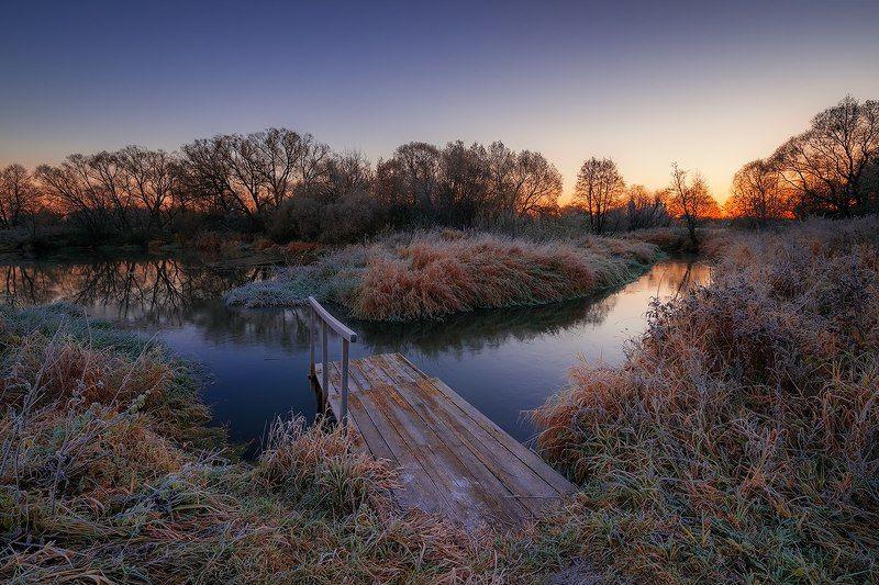 Утро, иней, мосток, река Морозное утроphoto preview