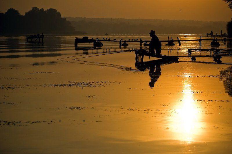 утро, река, восход, рыбалка солнечные ванныphoto preview