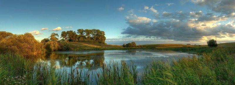 пейзаж, панорама, пруд, облака, закат photo preview