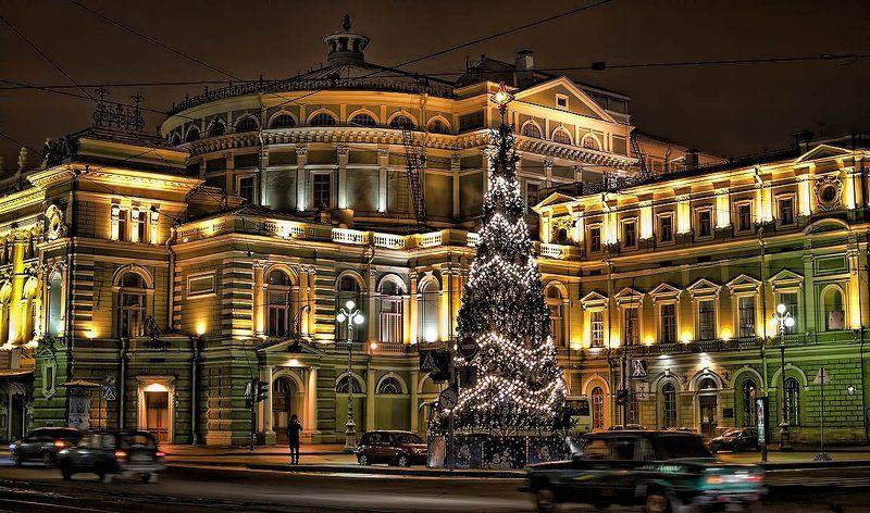 мариинский, театр, театральная, площадь, ночь, зима, питер, новогодняя, ёлка Главное здание Мариинского театра.photo preview