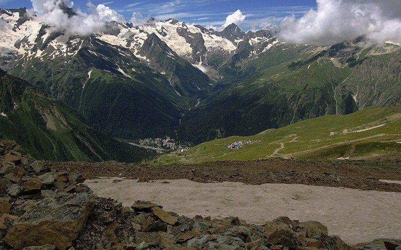 горы, пейзаж, кавказ, домбай, небо, ледники, облака, снег Домбайphoto preview