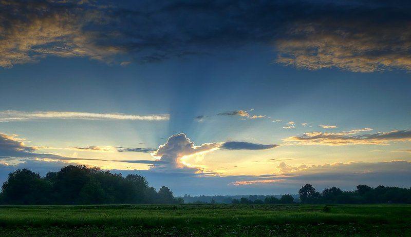 пейзаж, облака, лучи photo preview