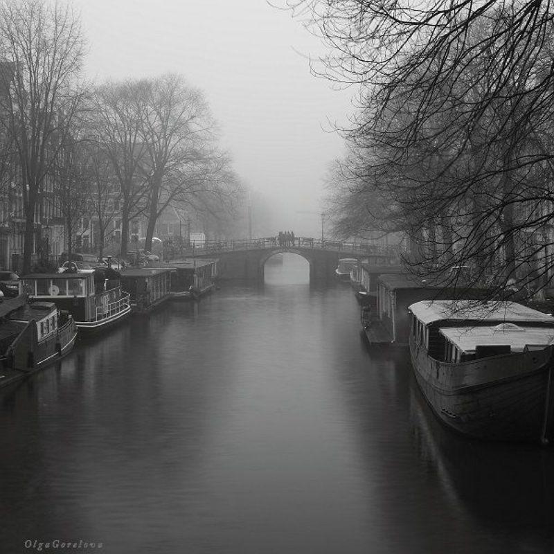 амстердам, фото, мост, туман ***photo preview