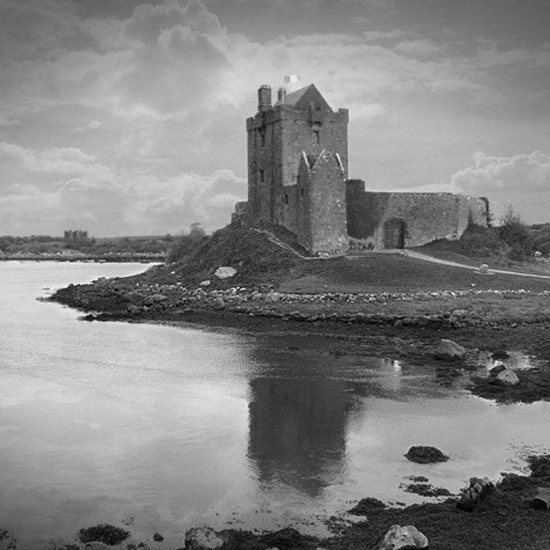dunguaire castle, ireland, castle, lake, river, black & white, fine art, Dunguaire Castle - Irelandphoto preview