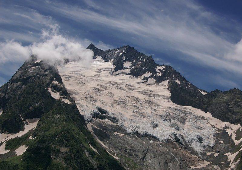 ледник, кавказ, горы, вершины,  домбай, небо, облака Джугутурлучатphoto preview