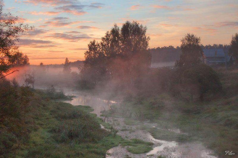 утро, туман, восход, глубинка, переплюйка Еду, еду, еду, еду я,  Реки, степи, горы и поля...photo preview