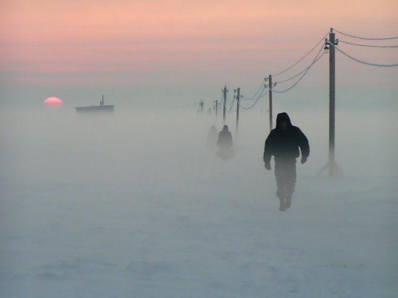 архангельск, зима, закат Переправа через Северную Двинуphoto preview