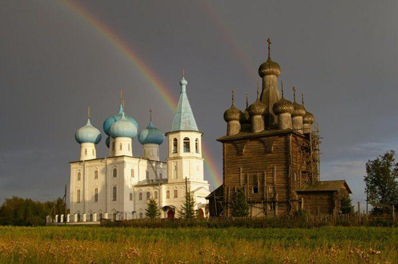 радуга, храм, деревянное зодчество, север, архангельск Двойная благодатьphoto preview