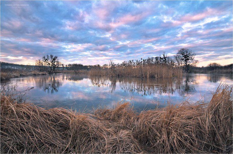 утро, река, облака, отражения, весна, март Мартphoto preview