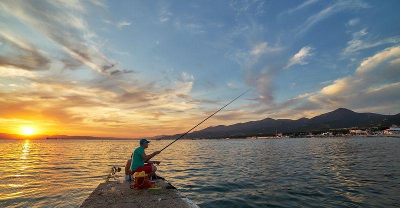 закат, лето, море, небо, облака, пейзаж, рыбалка Летняя рыбалкаphoto preview