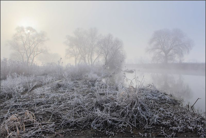 Изморозь туман река солнце ***photo preview
