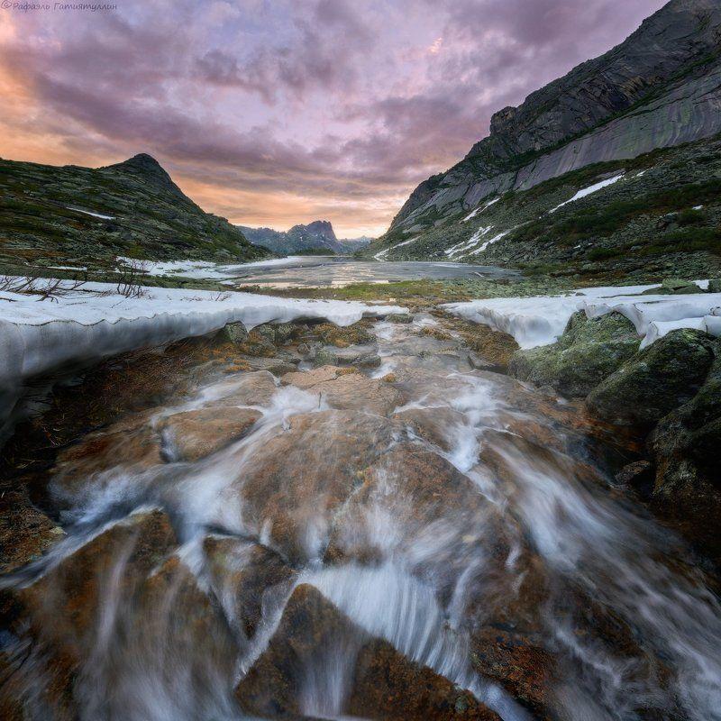 красноярский край, западные саяны, национальный парк  ергаки, озеро, восход, горные духи, покой, природа, ручей. \