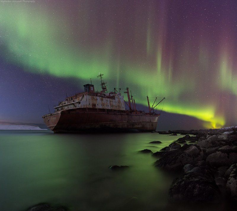 аврора, заполярье, баренцево море, северное сияние, aurora borealis, кольский п-ов, \