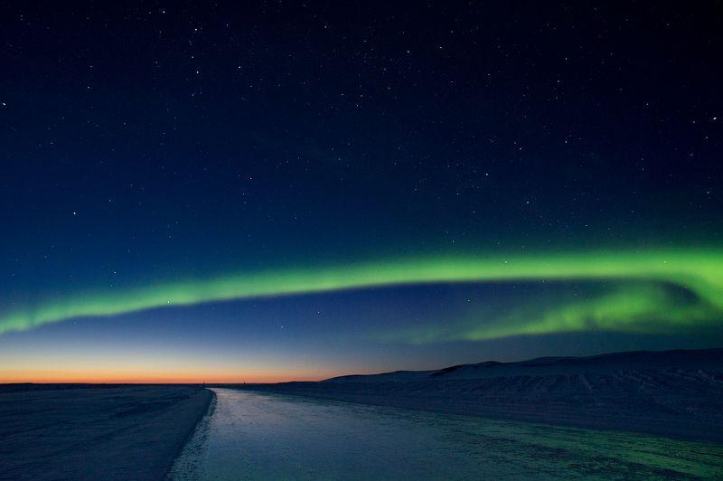 март, Чукотка, Арктика, зимняя дорога, зимник, ночь Весенний вечер в Арктикеphoto preview