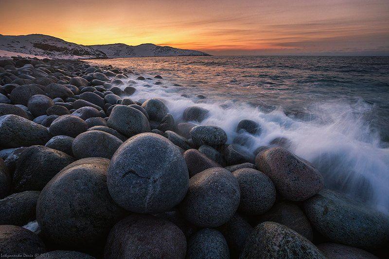 2017, весна, вода, море, океан, берег, вечер, камни, закат, волны, облака, снег, териберка, баренцевое море, кольский ***photo preview