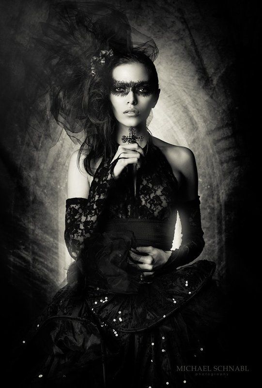 portrait, dark beauty, fashion, black dress, dark goddessphoto preview