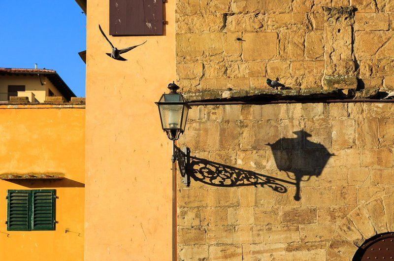 italy,florence,tuscany,city,street,spring,evening,wall,sky,lamp,bird,shadow,light,blue,yellow Florencephoto preview