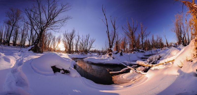Природа, пейзаж, река, зима, февраль,вечер, закат, снег ,Зай, небо, деревья У рекиphoto preview