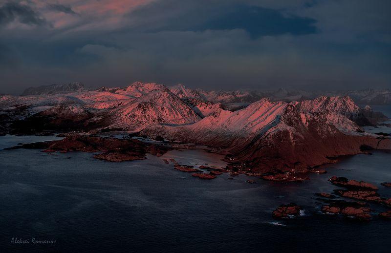 путешествия, норвегия, лофотенские острова, природа, горы, закат, lofoten islands Острова на закатеphoto preview