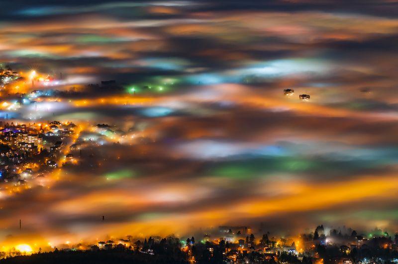 night, fog, foggy, landscape, city, light Софияphoto preview