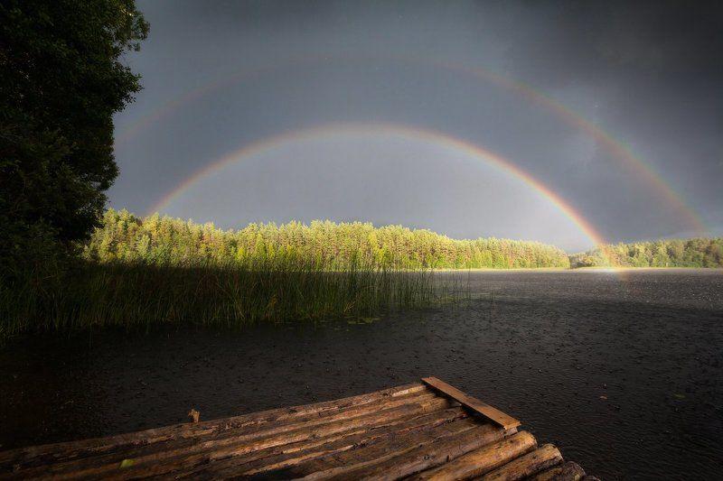 радуга, озеро, лес, лето, волобо Озеро Волобоphoto preview