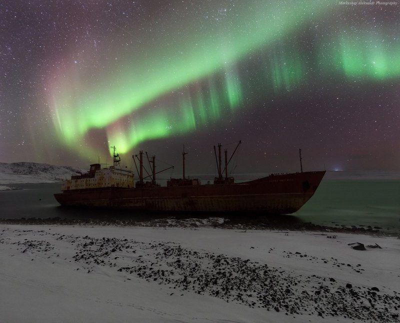 полярное сияние, север, побережье, баренцево море, aurora borealis, заполярье ***photo preview